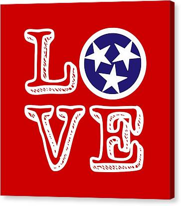 Tennessee Flag Love Canvas Print by Heather Applegate