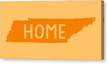 Canvas Print featuring the digital art Tennessee Home Orange by Heather Applegate