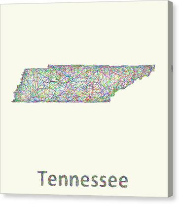 Tennessee Line Art Map Canvas Print by David Zydd