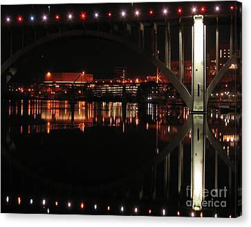 Tennessee River In Lights Canvas Print by Douglas Stucky