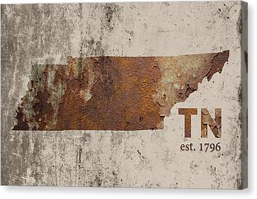 Tennessee State Map Industrial Rusted Metal On Cement Wall With Founding Date Series 030 Canvas Print by Design Turnpike