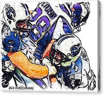 Tennessee Titans Karl Klug And Chris Hope And Minnesota Vikings Adrian Peterson Canvas Print by Jack K