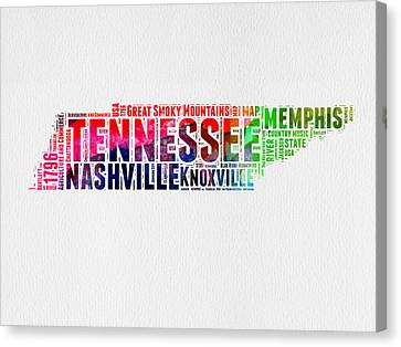 Tennessee Watercolor Word Cloud Map  Canvas Print by Naxart Studio