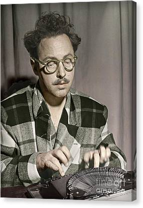 Tennessee Williams At His Typewriter Canvas Print