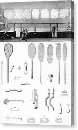 Tennis Court And Rackets Canvas Print by French School