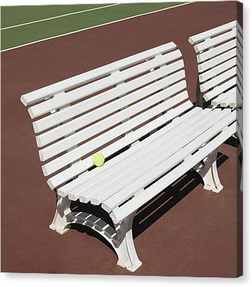 Tennis Court Benches Canvas Print by Skip Nall