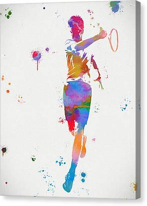 Tennis Player Paint Splatter Canvas Print by Dan Sproul