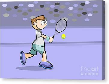 Kids Canvas Print - Tennis Player Running To Hit The Ball by Daniel Ghioldi