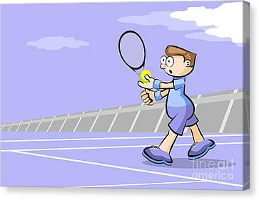 Decoration Canvas Print - Tennis Player With Ball In Hand Ready To Make A Serve by Daniel Ghioldi