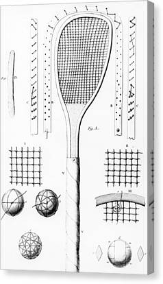 Racquet Canvas Print - Tennis Racket And Balls by French School