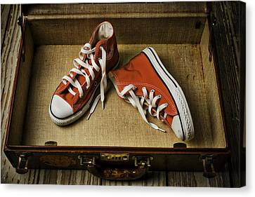 Tennis Shoe Canvas Print - Tennis Shoes In Suitcase by Garry Gay