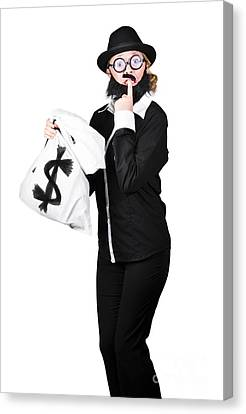 Uncertainty Canvas Print - Tensed Woman Holding Money Bag by Jorgo Photography - Wall Art Gallery