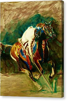 Tent Pegging Sport Canvas Print by Khalid Saeed
