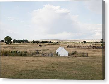 Canvas Print featuring the photograph Tents At Fort Laramie National Historic Site In Goshen County by Carol M Highsmith