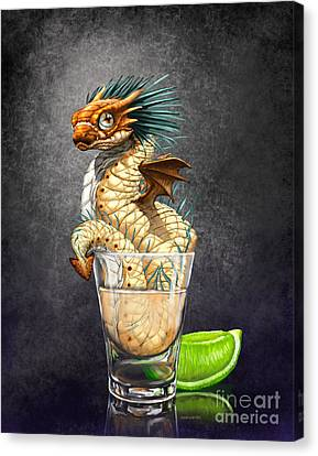 Canvas Print featuring the digital art Tequila Wyrm by Stanley Morrison