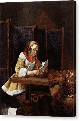 Terborch Gerard A Lady Reading A Letter Canvas Print by Gerard ter Borch