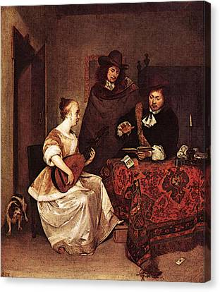 Terborch Gerard A Young Woman Playing A Theorbo To Two Men Canvas Print by Gerard ter Borch
