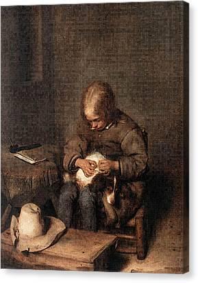 Terborch Gerard Boy Riding His Dog Of Fleas Canvas Print by Gerard ter Borch