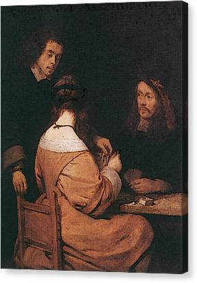 Terborch Gerard Card Players Canvas Print by Gerard ter Borch