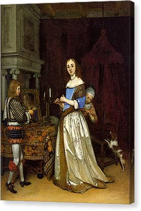 Terborch Gerard Lady At Her Toilette Canvas Print by Gerard ter Borch