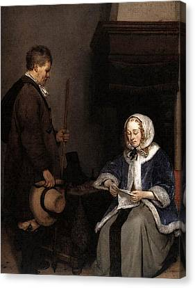 Terborch Gerard Lady Reading A Letter  Canvas Print by Gerard ter Borch