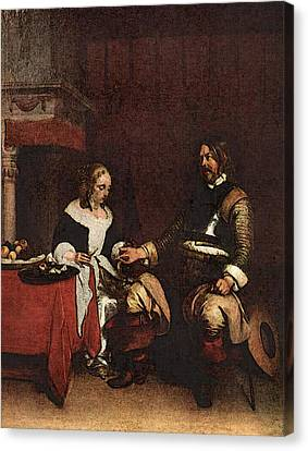 Terborch Gerard Man Offering A Woman Coins Canvas Print by Gerard ter Borch
