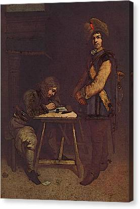 Terborch Gerard Officer Writing A Letter Canvas Print by Gerard ter Borch