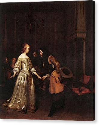 Terborch Gerard The Dancing Couple Canvas Print by Gerard ter Borch