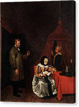 Terborch Gerard The Message Canvas Print by Gerard ter Borch