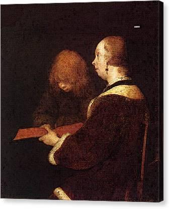 Terborch Gerard The Reading Lesson Canvas Print by Gerard ter Borch