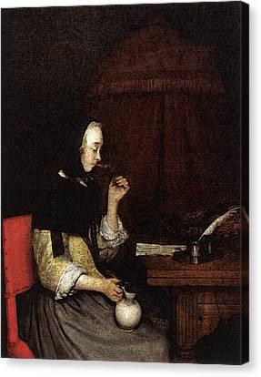 Terborch Gerard Woman Drinking Wine Canvas Print by Gerard ter Borch