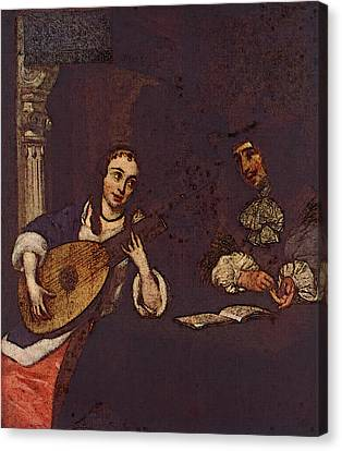 Terborch Gerard Woman Playing The Lute Canvas Print by Gerard ter Borch