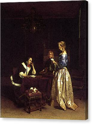 Terborch Gerard Woman Reading A Letter Canvas Print by Gerard ter Borch