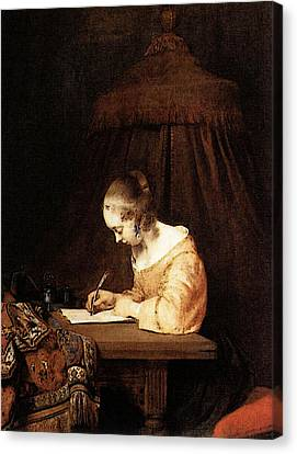 Terborch Gerard Woman Writing A Letter Canvas Print by Gerard ter Borch