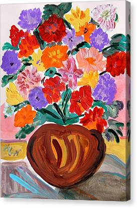 Terra Cotta And Mixed Bouquet Canvas Print by Mary Carol Williams
