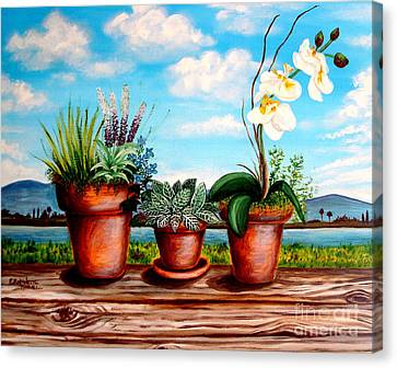 Canvas Print featuring the painting Terra Cotta Blues by Elizabeth Robinette Tyndall