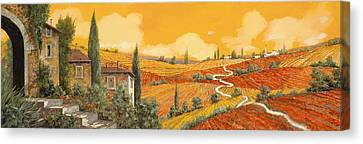 Wine Scene Canvas Print - terra di Siena by Guido Borelli
