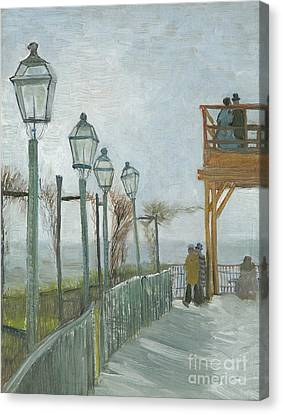 Streetlight Canvas Print - Terrace And Observation Deck At The Moulin De Blute Fin by Vincent Van Gogh