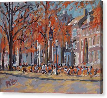 Terrace In The Grand Tanners Street Maastricht Canvas Print by Nop Briex