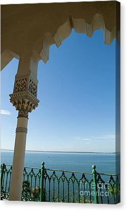 Terrace With A View Of The Sea On Top Of The Palacio De Valle Canvas Print by Sami Sarkis