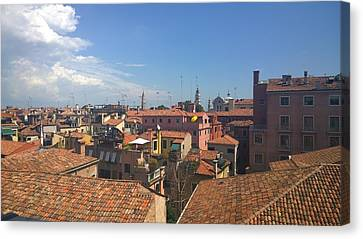 Canvas Print featuring the photograph Terracotta Rooftops by Anne Kotan