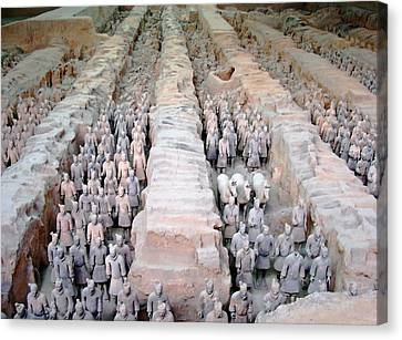 Terracotta Warriors And Horses Canvas Print by Debbie Oppermann