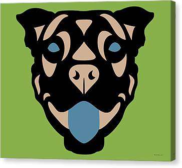 Terrier Terry - Dog Design - Greenery, Hazelnut, Niagara Blue Canvas Print by Manuel Sueess