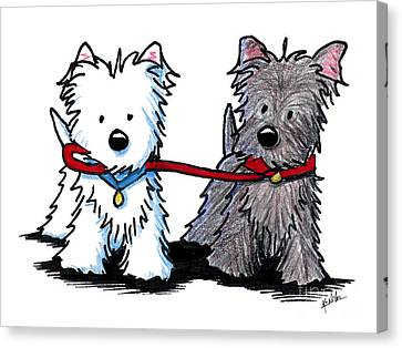 Scottish Dog Canvas Print - Terrier Walking Buddies by Kim Niles