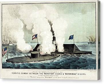 Us Navy Canvas Print - Terrific Combat Between The Monitor And The Merrimac by Currier and Ives