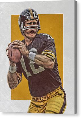 Terry Bradshaw Pittsburgh Steelers Art Canvas Print by Joe Hamilton