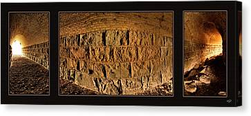 Canvas Print featuring the photograph Terry Tunnel Triptych by Leland D Howard