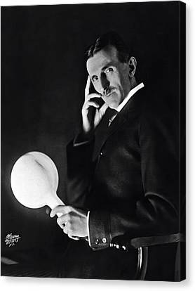 Tesla And Wireless Light Bulb Canvas Print by Daniel Hagerman