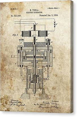 Tesla Generator Patent Canvas Print by Dan Sproul