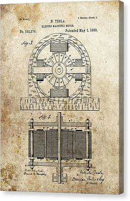 Tesla Magnetic Motor Patent Canvas Print by Dan Sproul